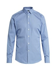 Lanvin Button Cuff Checked Cotton Shirt Blue