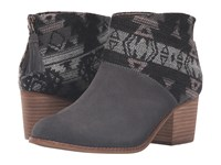 Toms Leila Bootie Forged Iron Grey Suede Tribal Wool Women's Zip Boots Gray