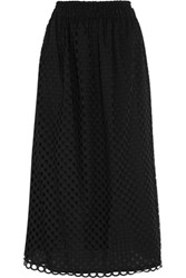 Carven Broderie Anglaise Cotton Midi Skirt Black