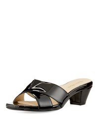 Taryn Rose Obert Patent Leather Sandal Black