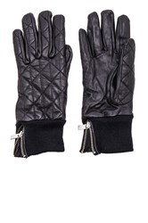 Maison Scotch Leather Quilted Gloves Black