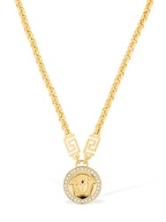 Versace Icon Crystal Medusa Necklace Gold