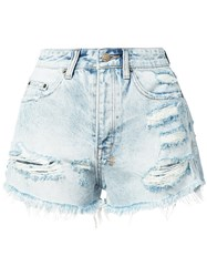 Ksubi Distressed Denim Shorts Women Cotton 28 Blue