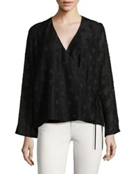 Design Lab Lord And Taylor Wrap Blouse Black