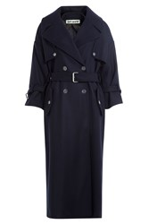 Off White Trench Coat With Virgin Wool Blue