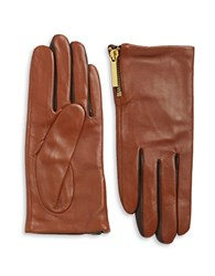 Michael Kors Zip Cuff Leather Gloves Tan