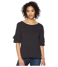 Dylan By True Grit Soft Slub Ruffle Short Sleeve Tee Black T Shirt