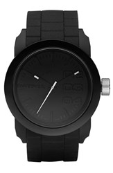 Men's Diesel 'Double Down' Round Silicone Strap Watch 44Mm Black