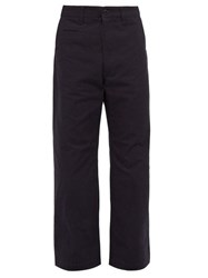 Junya Watanabe Camouflage Patch Cotton Twill Trousers Navy