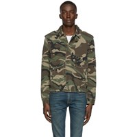 Saint Laurent Green Camouflage Aviator Jacket