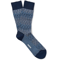 Missoni Zig Zag Crochet Knit Cotton Blend Socks Blue