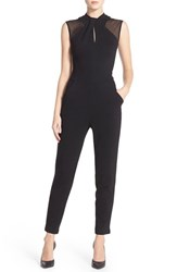 Women's French Connection 'Tania' Mesh Insets Jumpsuit Black