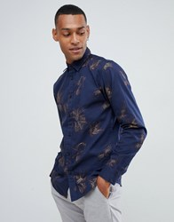 Selected Homme Shirt In Slim Fit With Embroidery Dark Navy Emb Tops B