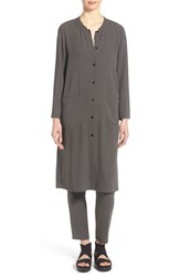 Women's Eileen Fisher Silk Mandarin Collar Long Jacket Bark