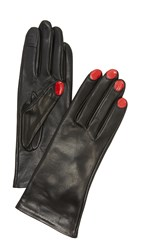 Agnelle Elsa Texting Gloves Black Red