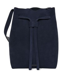 Mansur Gavriel Drawstring Suede Hobo Bag Blue