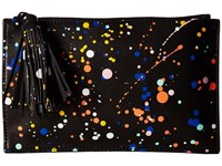 Loeffler Randall Flat Pouch Black Multi Splatter Clutch Handbags