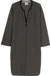 Raquel Allegra Striped Merino Wool And Cashmere Blend Dress Black