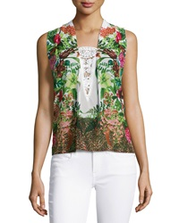 Alberto Makali Floral Lace Front Sleeveless Blouse Green Multi