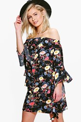 Boohoo Floral Off Shoulder Waterfall Sleeve Shift Dress Black