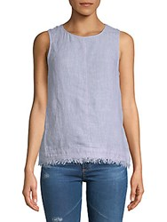 Saks Fifth Avenue Frayed Linen Tank Top White