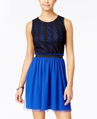Speechless Juniors' Chevron Lace Tulle Dress Royal Blue Black