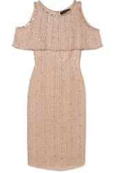 Jenny Packham Cold Shoulder Embellished Chiffon Dress Gold