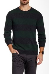Qi Cashmere Crew Neck Rugby Stripe Sweater Green