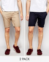 Asos Skinny Chino Shorts Mid Length In Navy Stone 2 Pack Save 17 Navy Stone Multi