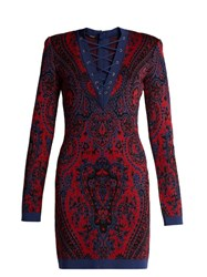 Balmain Lace Up Tapestry Knit Mini Dress Red Multi