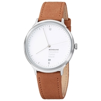 Mondaine Mh1.L2210.Lg Unisex Helvetica Leather Strap Watch Brown