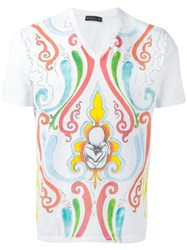 Etro Paint Effect Printed T Shirt White