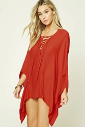 Forever 21 Lace Up Cover Up Kaftan Red