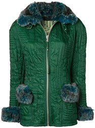 Jean Paul Gaultier Vintage Microship Quilt Fitted Jacket Green