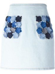 Fendi Flower Applique Denim Skirt Blue