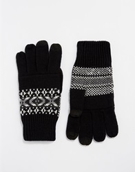 Asos Touch Screen Gloves In Black Fair Isle Palm Print