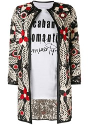 Caban Romantic Floral Embroidered Jacket Women Leather Polyamide 44 Black