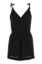 Topshop Petite Wrap Trim Playsuit Black