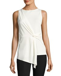 Tahari By Arthur S. Levine Sleeveless Front Twist Knit Blouse Ivory
