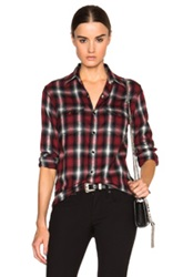 Saint Laurent Fine Check Flannel Shirt In Red Checkered And Plaid
