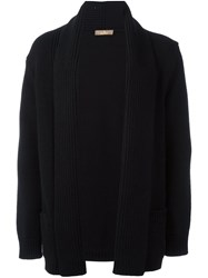 Cruciani Shawl Lapel Ribbed Cardigan Black