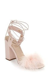 Women's Topshop Marabou Feather Lace Up Sandal 3 3 4' Heel