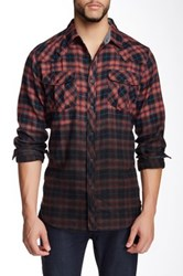 Burnside Long Sleeve Ombre Plaid Shirt Red