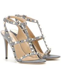 Valentino Rockstud Leather Sandals Grey