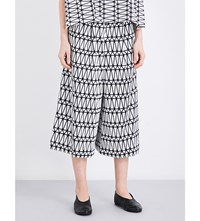 Issey Miyake Facet Pattern Wide High Rise Twill Trousers White X Black