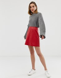 Whistles Leather A Line Mini Skirt Red