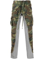 Greg Lauren Panelled Camouflage Print Trousers Green