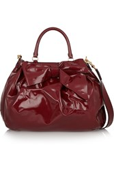 Valentino Bow Embellished Patent Leather Shoulder Bag Red