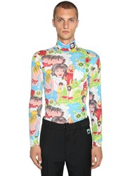 Prada Flash Back Print Turtleneck Top Multicolor