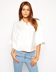 Tfnc Relaxed Shirt With Kimono Sleeve White